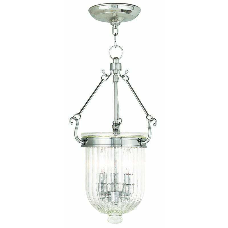 Livex Lighting Pendants Polished Nickel / Hand Crafted Clear Melon Glass Coventry Polished Nickel Pendant By Livex Lighting 50515-35