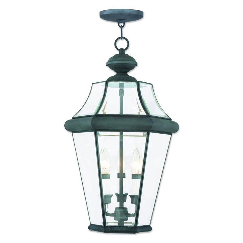 Livex Lighting Outdoor Pendants Lanterns Charcoal / Clear Beveled Glass Georgetown Charcoal Outdoor Pendant Lantern  By Livex Lighting 2365-61