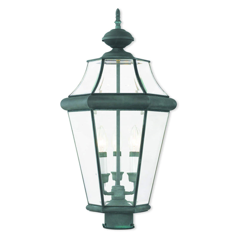 Livex Lighting Outdoor Post Top Lanterns Charcoal / Clear Beveled Glass Georgetown Charcoal Outdoor Post Top Lantern By Livex Lighting 2364-61