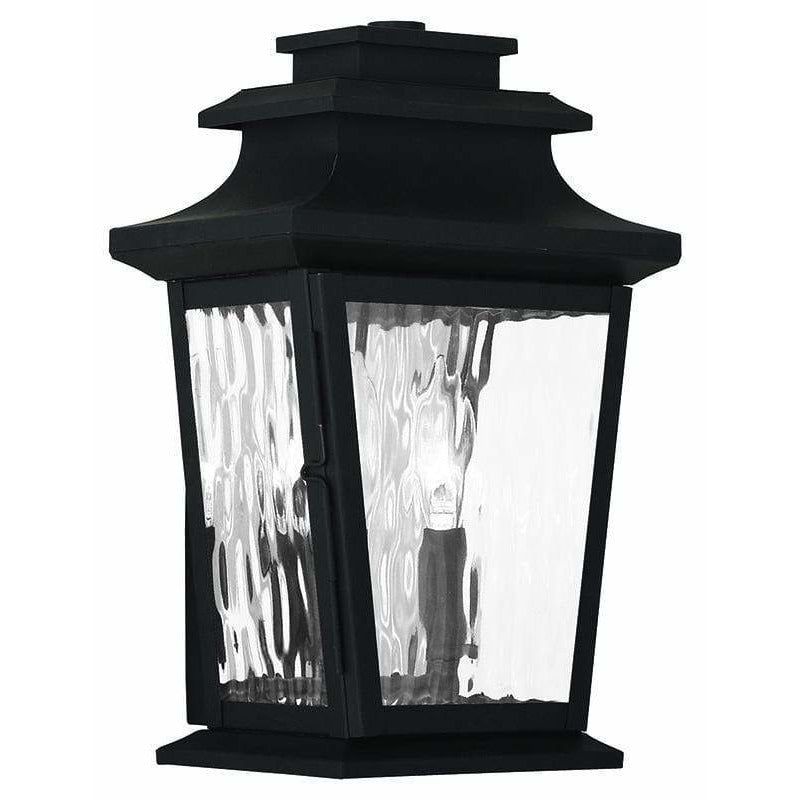 Livex Lighting Outdoor Wall Lanterns Black / Clear Water Glass Hathaway Black Outdoor Wall Lantern By Livex Lighting 20256-04
