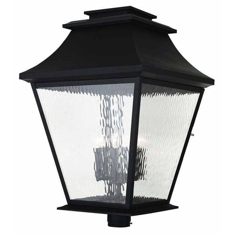 Livex Lighting Outdoor Post Top Lanterns Bronze / Clear Water Glass Hathaway Bronze Outdoor Post Top Lantern By Livex Lighting 20254-07