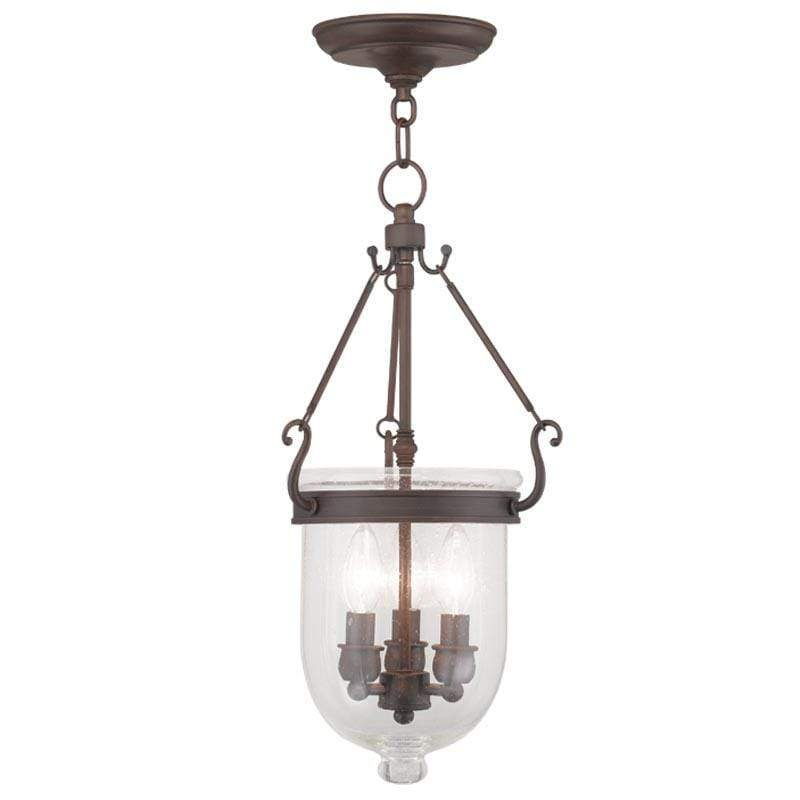 Livex Lighting Chain Lantern Imperial Bronze / Seeded Glass Jefferson Imperial Bronze Chain Lantern  By Livex Lighting 5083-58