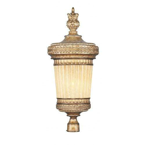 Livex Lighting Outdoor Post Top Hand Painted Vintage Gold Leaf / Hand Crafted Gold Dusted Glass La Bella Hand Painted Vintage Gold Leaf Outdoor Post Top By Livex Lighting 8907-65