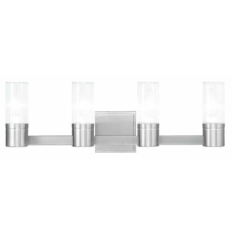 Livex Lighting Bath Vanity Brushed Nickel / Hand Crafted Clear Fluted Glass Midtown  Brushed Nickel Bath Vanity By Livex Lighting 50684-91