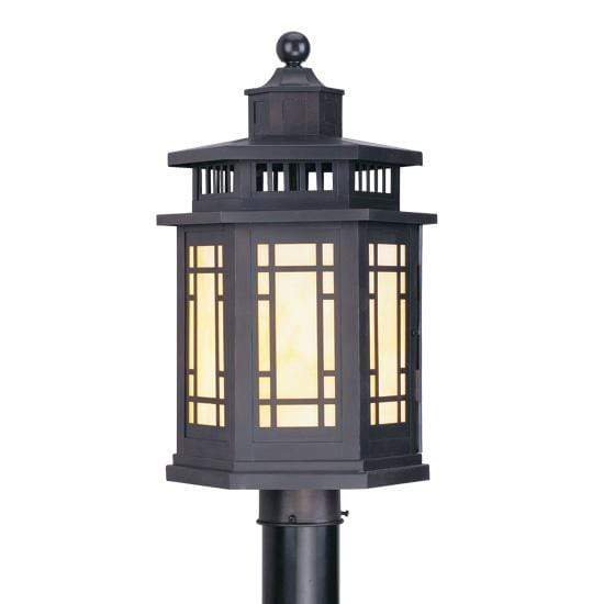 Livex Lighting Outdoor Post Top Lanterns Bronze / Tiffany Art Glass Mirror Lake Bronze Outdoor Post Top Lantern By Livex Lighting 2394-07