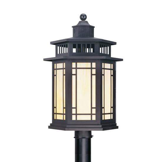 Livex Lighting Outdoor Post Top Lanterns Bronze / Tiffany Art Glass Mirror Lake Bronze Outdoor Post Top Lantern By Livex Lighting 2398-07