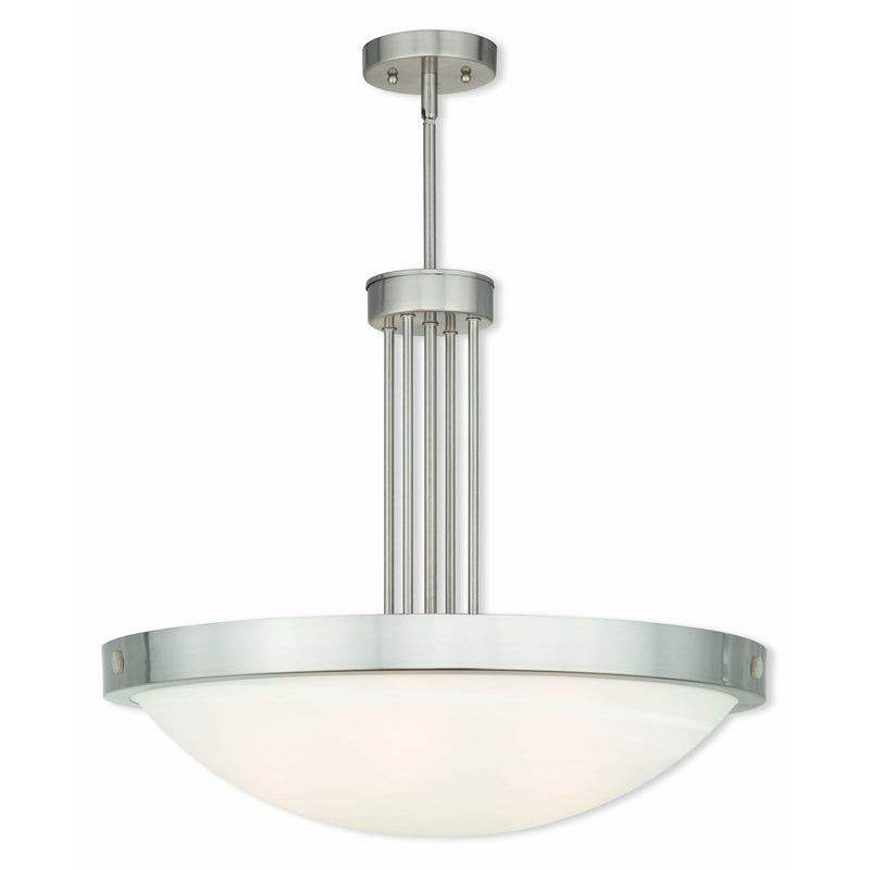 Livex Lighting Pendants Brushed Nickel / White Alabaster Glass New Brighton Brushed Nickel Pendant By Livex Lighting 73965-91