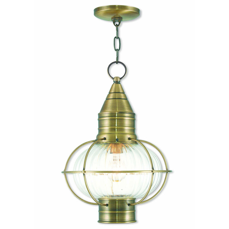 Livex Lighting Outdoor Pendants Lanterns Antique Brass / Hand Blown Fluted Clear Glass Newburyport Antique Brass Outdoor Pendant Lantern  By Livex Lighting 27006-01