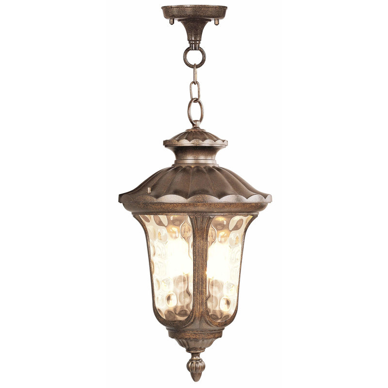 Livex Lighting Outdoor Pendants Lanterns Moroccan Gold / Hand Blown Light Amber Water Glass Oxford Moroccan Gold Outdoor Pendant Lantern By Livex Lighting 7665-50