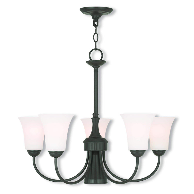 Livex Lighting Dinette Chandeliers English Bronze / Satin Opal White Glass Ridgedale English Bronze Dinette Chandelier By Livex Lighting 6465-92