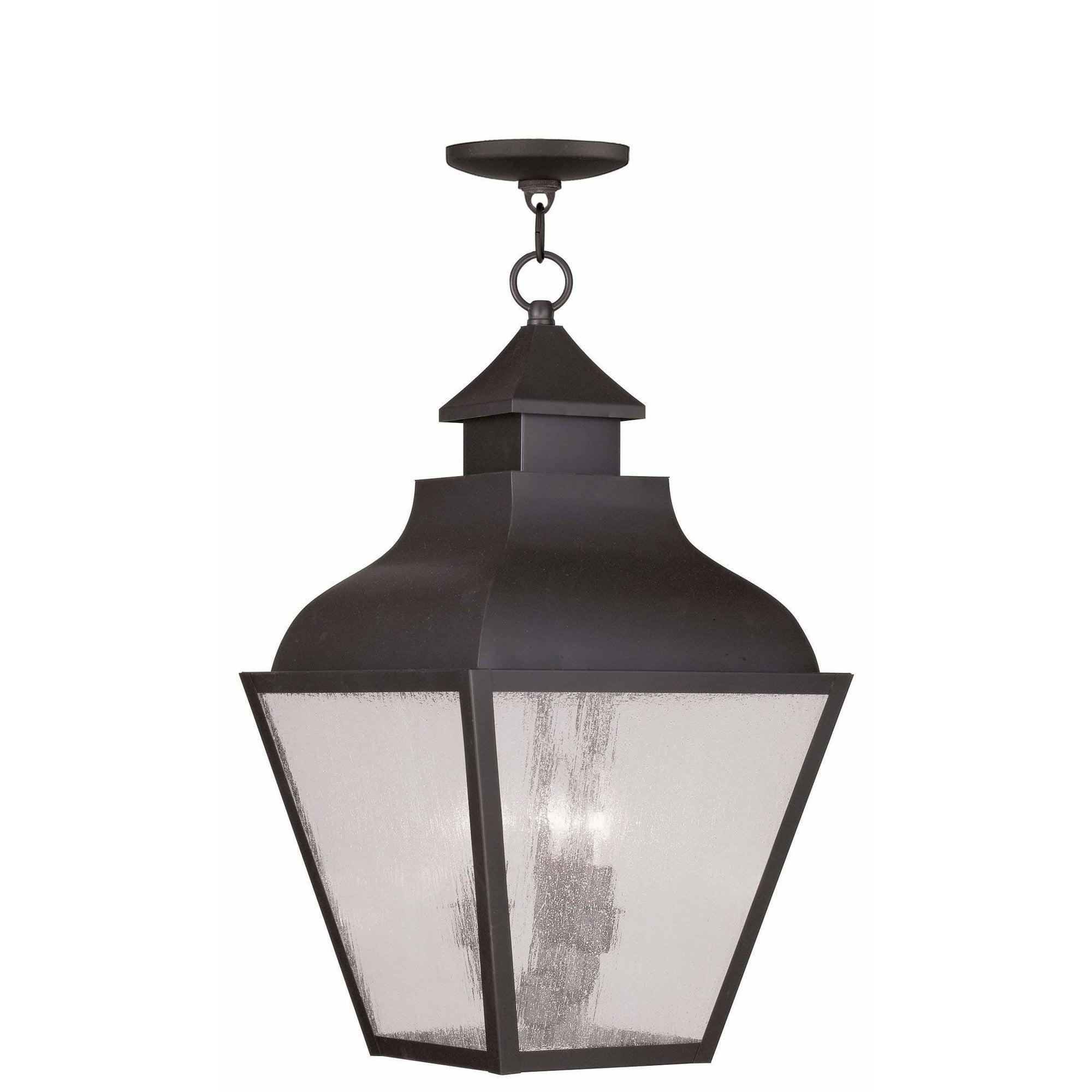 Livex Lighting Outdoor Pendants Lanterns Bronze / Seeded Glass Vernon Bronze Outdoor Pendant Lantern  By Livex Lighting 2456-07