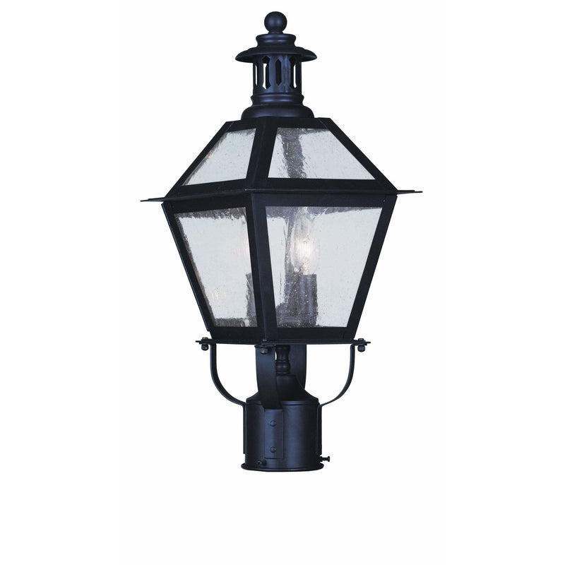 Livex Lighting Outdoor Post Top Lanterns Bronze / Seeded Glass Waldwick Bronze Outdoor Post Top Lantern By Livex Lighting 2042-07