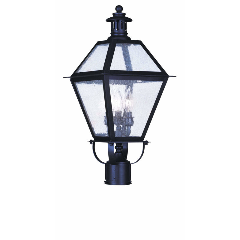 Livex Lighting Outdoor Post Top Lanterns Bronze / Seeded Glass Waldwick Bronze Outdoor Post Top Lantern By Livex Lighting 2045-07
