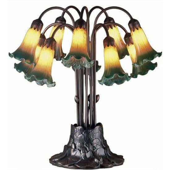 Meyda Lighting Table Lamps, Default Amber/Green Pond Lily Table Lamps By Meyda Lighting 14357