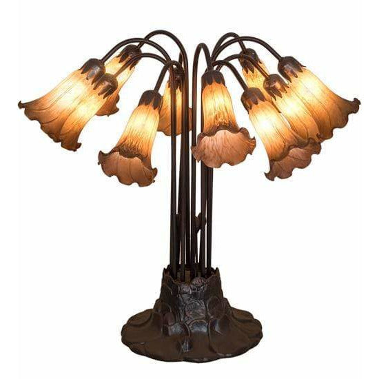 Meyda Lighting Table Lamps, Lily; Tulip And Pate-De-Verre Default Amber Pond Lily Table Lamps By Meyda Lighting 14369