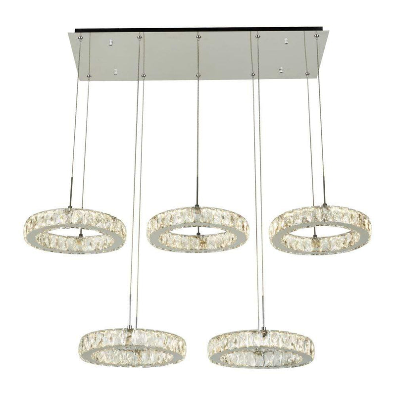 PLC Lighting Chandeliers 1 Ceiling Five Ring Pendant from the Equis Collection By PLC Lighting 90070