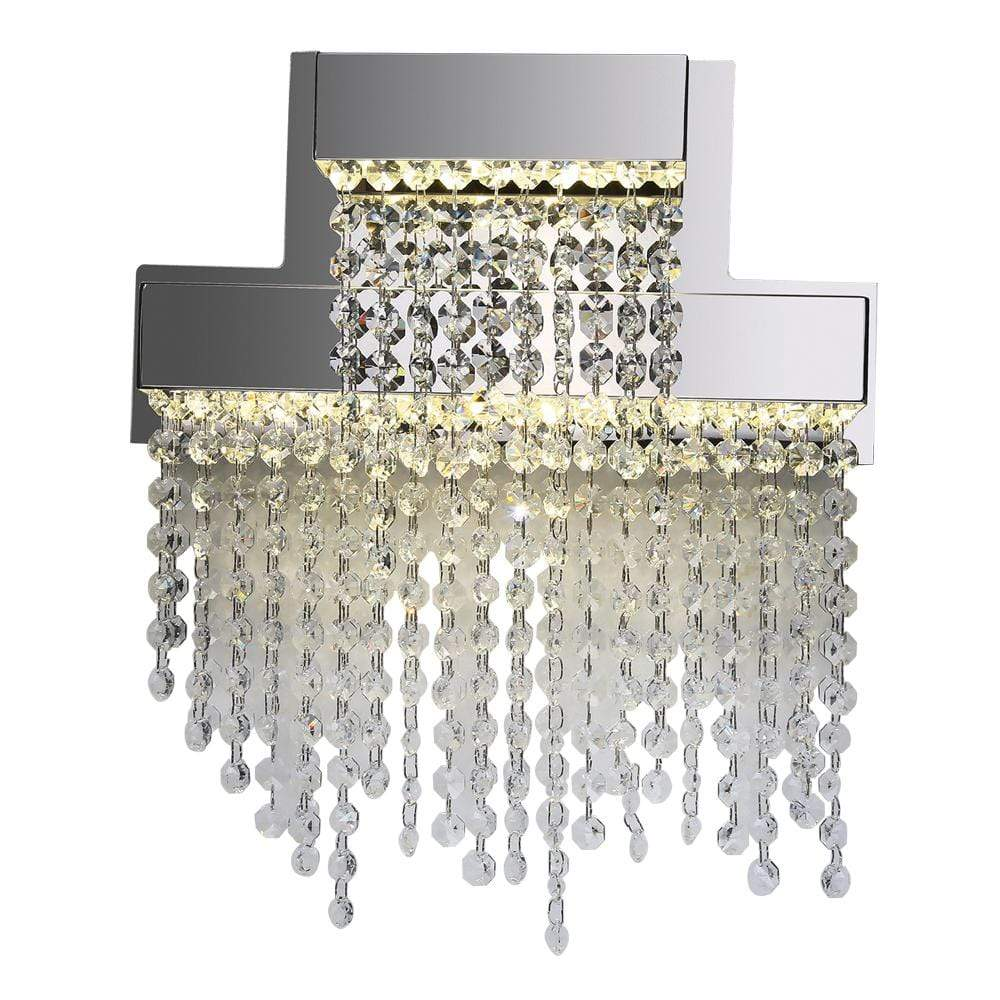 PLC Lighting Bathroom Lighting Polished Chrome / Asfour Handcut Crystal / Integrated LED 1 Ceiling Pendant from the Camelot collection By PLC Lighting 91134