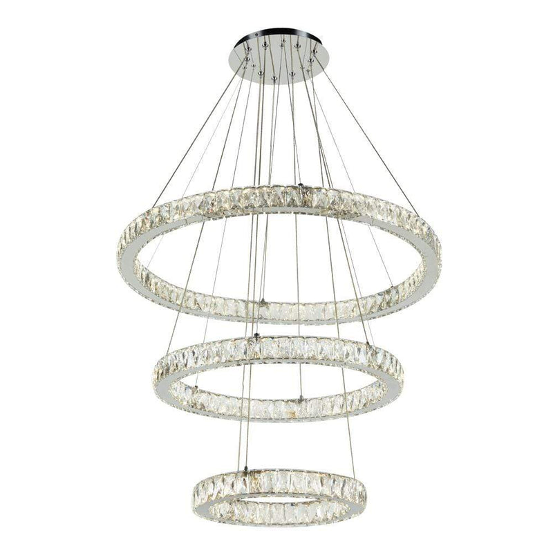 PLC Lighting Chandeliers Polished Chrome / Diamond Cut Crystal / Integrated LED 1 Ceiling Treble Pendant from the Equis Collection By PLC Lighting 90073
