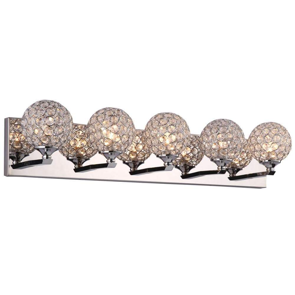 PLC Lighting Bathroom Lighting Polished Chrome / Asfour Handcut Crystal / G9-LED 1 Five light vanity from the Alexa collection By PLC Lighting 92705