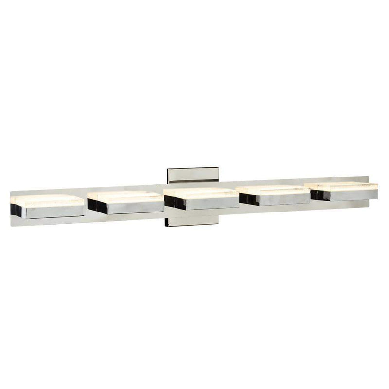 PLC Lighting Bathroom Lighting Polished Chrome / Integrated LED 1 Five step vanity from the Sigma collection By PLC Lighting 91149