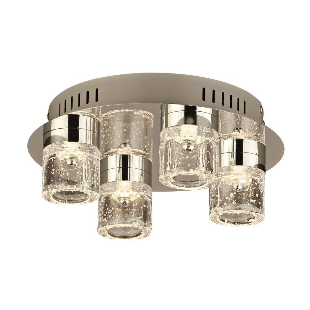 PLC Lighting Flush Mounts Polished Chrome / Clear Seedy / Integrated LED 1 Four light ceiling light from the Yoki collection By PLC Lighting 81114