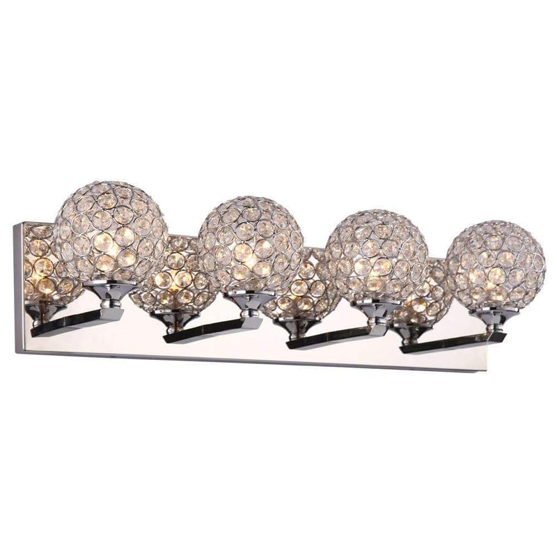 PLC Lighting Bathroom Lighting Polished Chrome / Asfour Handcut Crystal / G9-LED 1 Four light vanity from the Alexa collection By PLC Lighting 92704