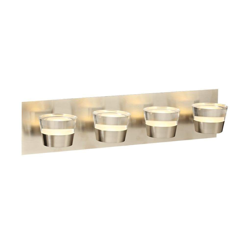PLC Lighting Bathroom Lighting Satin Nickel / Clear / Integrated LED 1 Four light vanity from the Sitra collection By PLC Lighting 90064