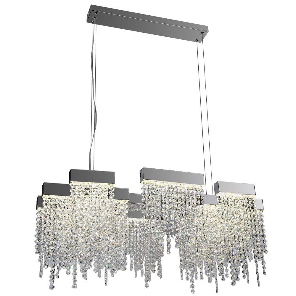 PLC Lighting Chandeliers Polished Chrome / Asfour Handcut Crystal / Integrated LED 1 Hanging Pendant from the Camelot Collection By PLC Lighting 91136