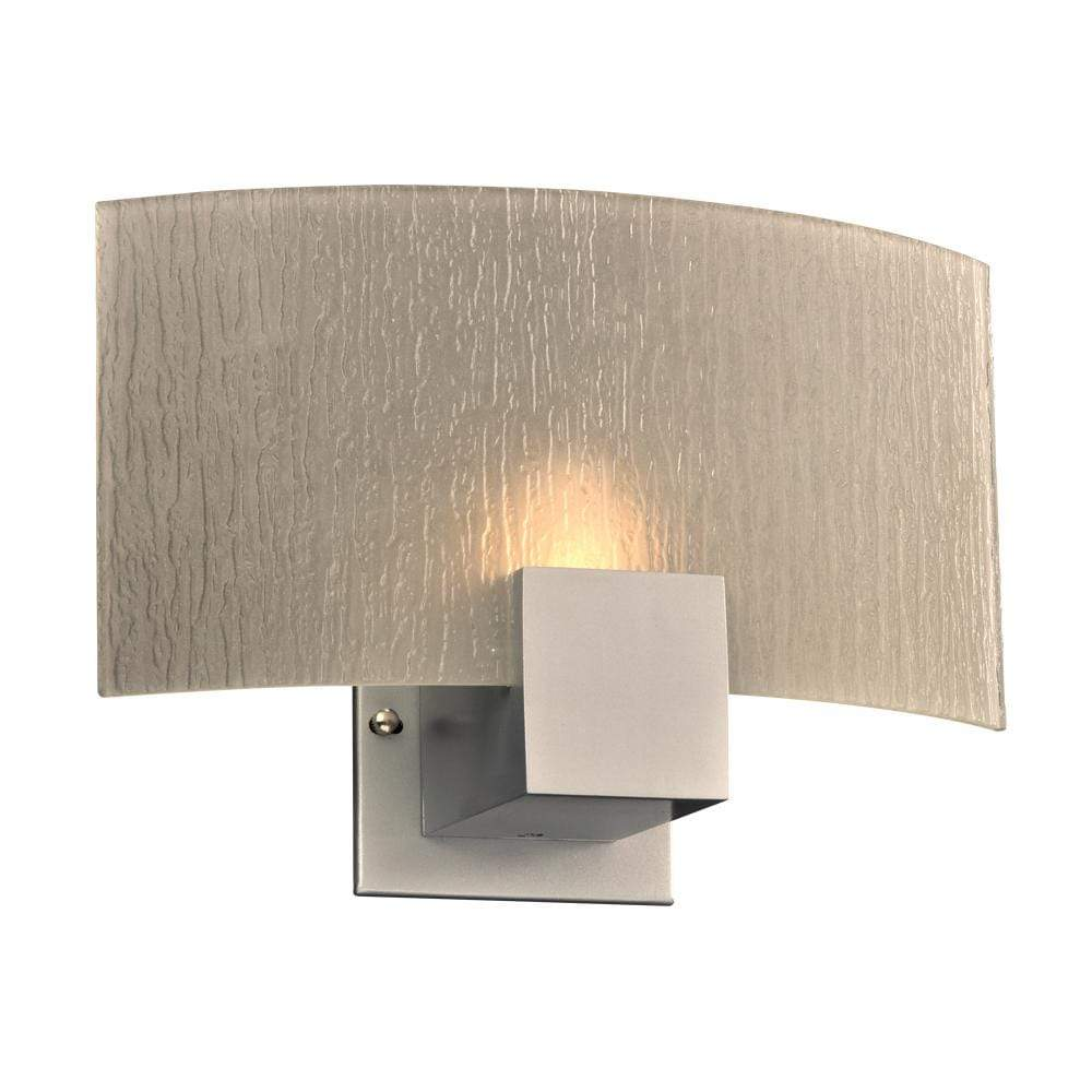 PLC Lighting Wall Sconces Silver / Frost / Integrated LED 1 Light Sconce Cubic Collection By PLC Lighting 1382