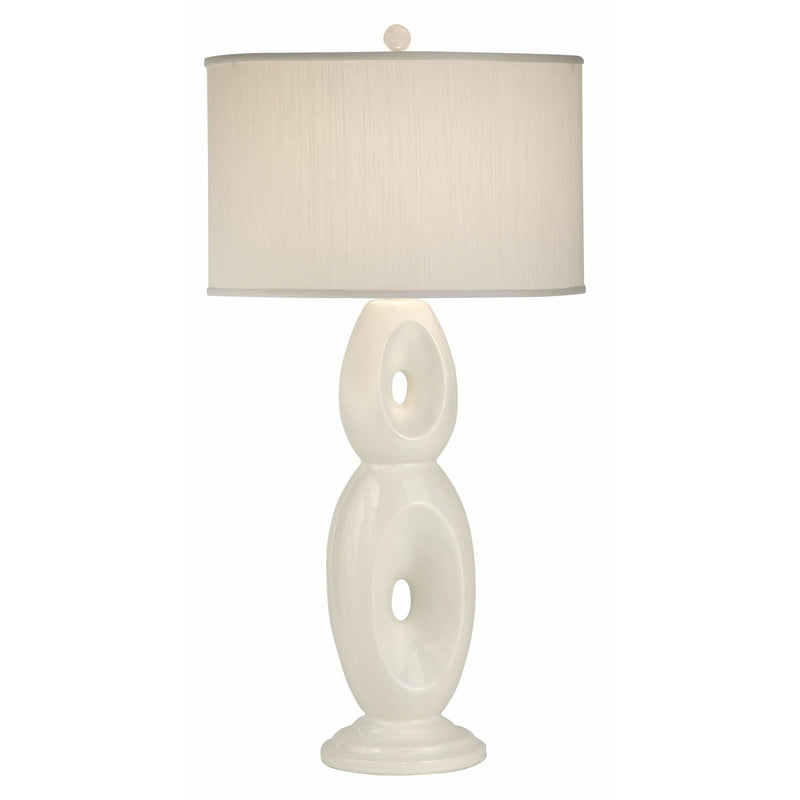 Thumprints Table Lamps White Glaze / White Silk Hardback Loop-White-White Shade Table Lamp By Thumprints 1137-ASL-2101