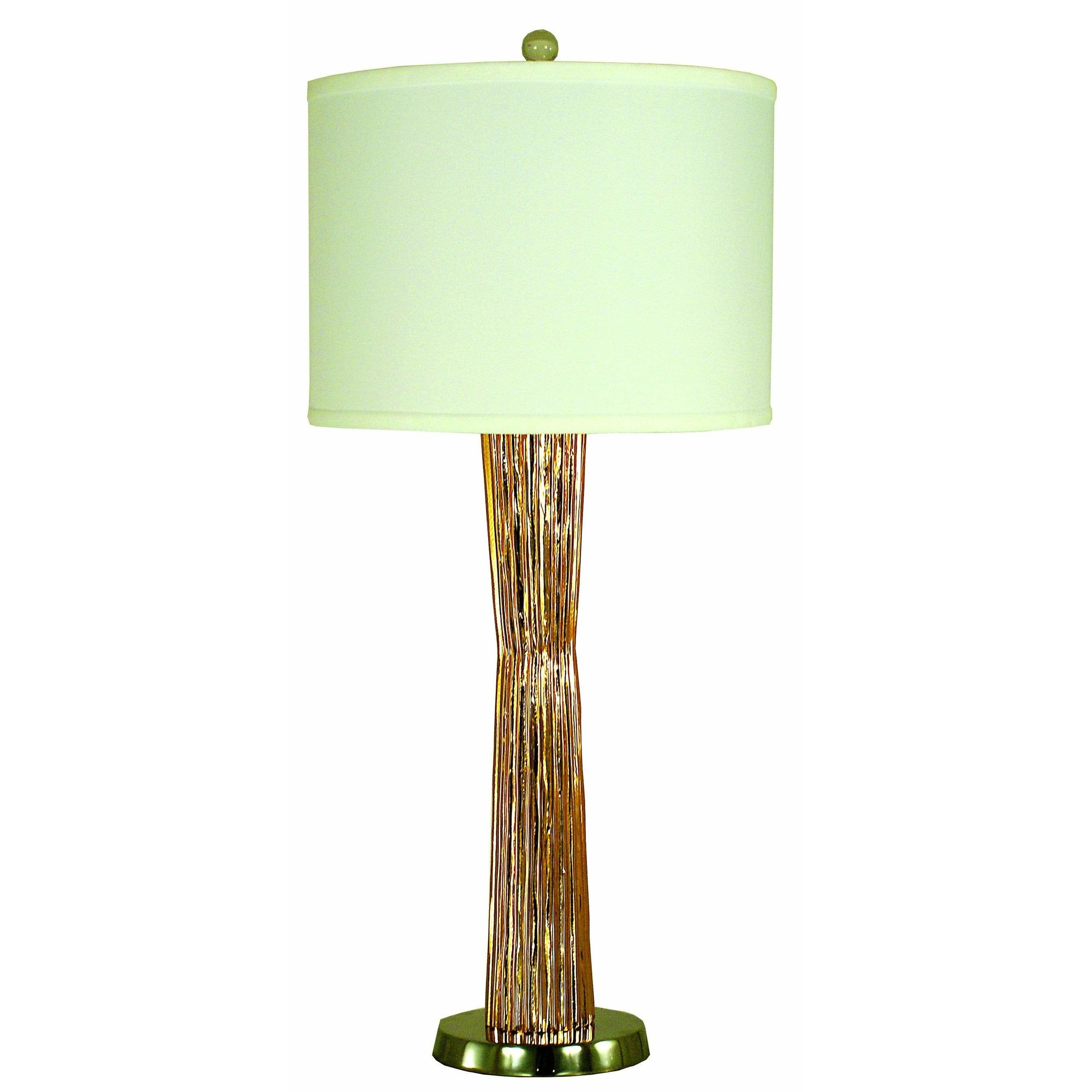 Thumprints Table Lamps Copper with Polished Nickel / White Silk Hardback Olympia Table Lamp By Thumprints 1254-ASL-2134