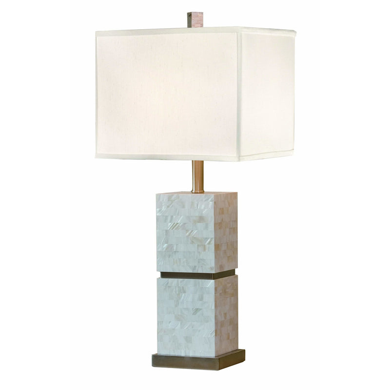 Thumprints Table Lamps Brushed Nickel Accents / White Silk Hardback Seaside Table Lamp By Thumprints 1108-ASL-2069