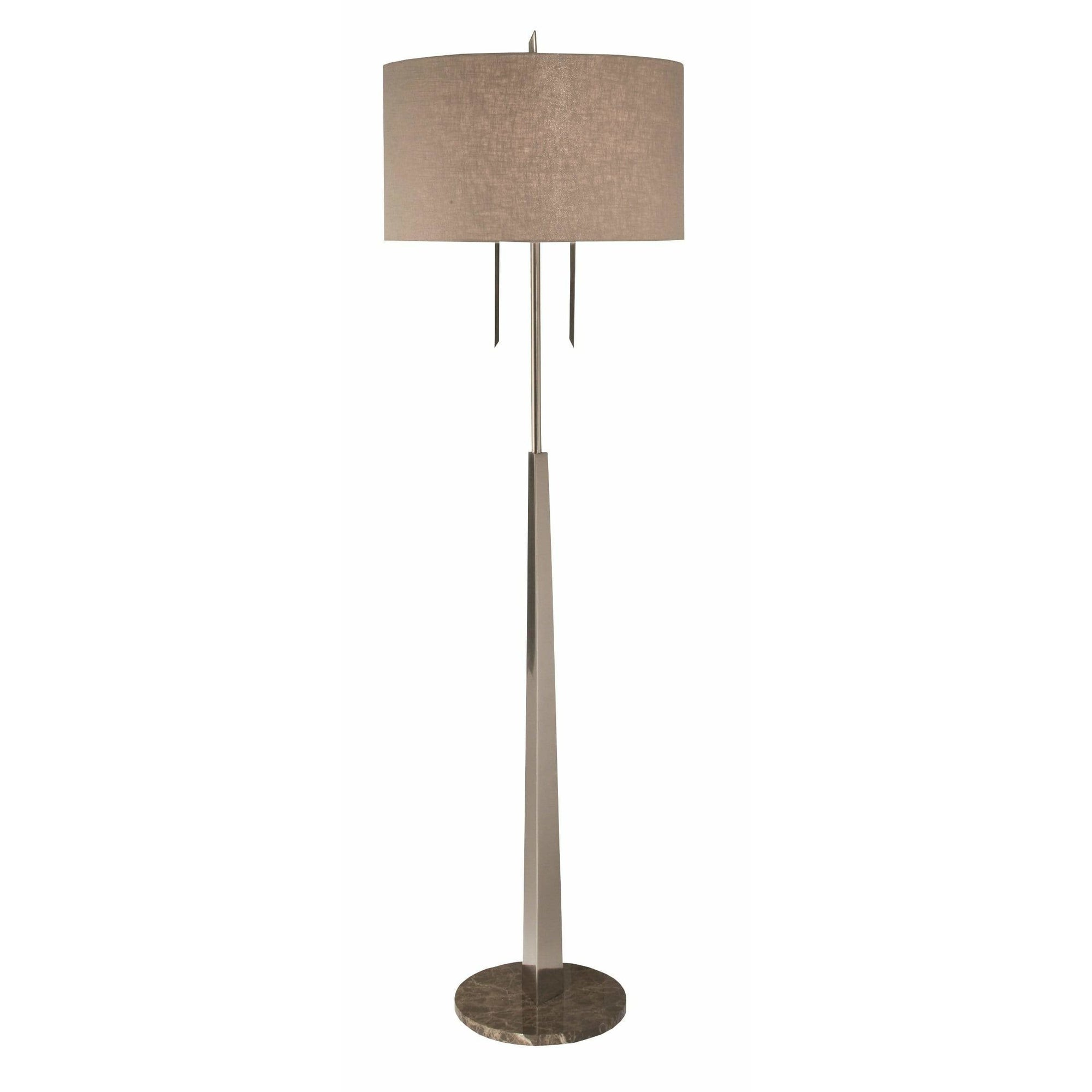 Thumprints Floor Lamps Brushed Nickel / Taupe Linen Hardback Tigers Eye-Floor Lamp Floor Lamp By Thumprints 1096-ASL-2060