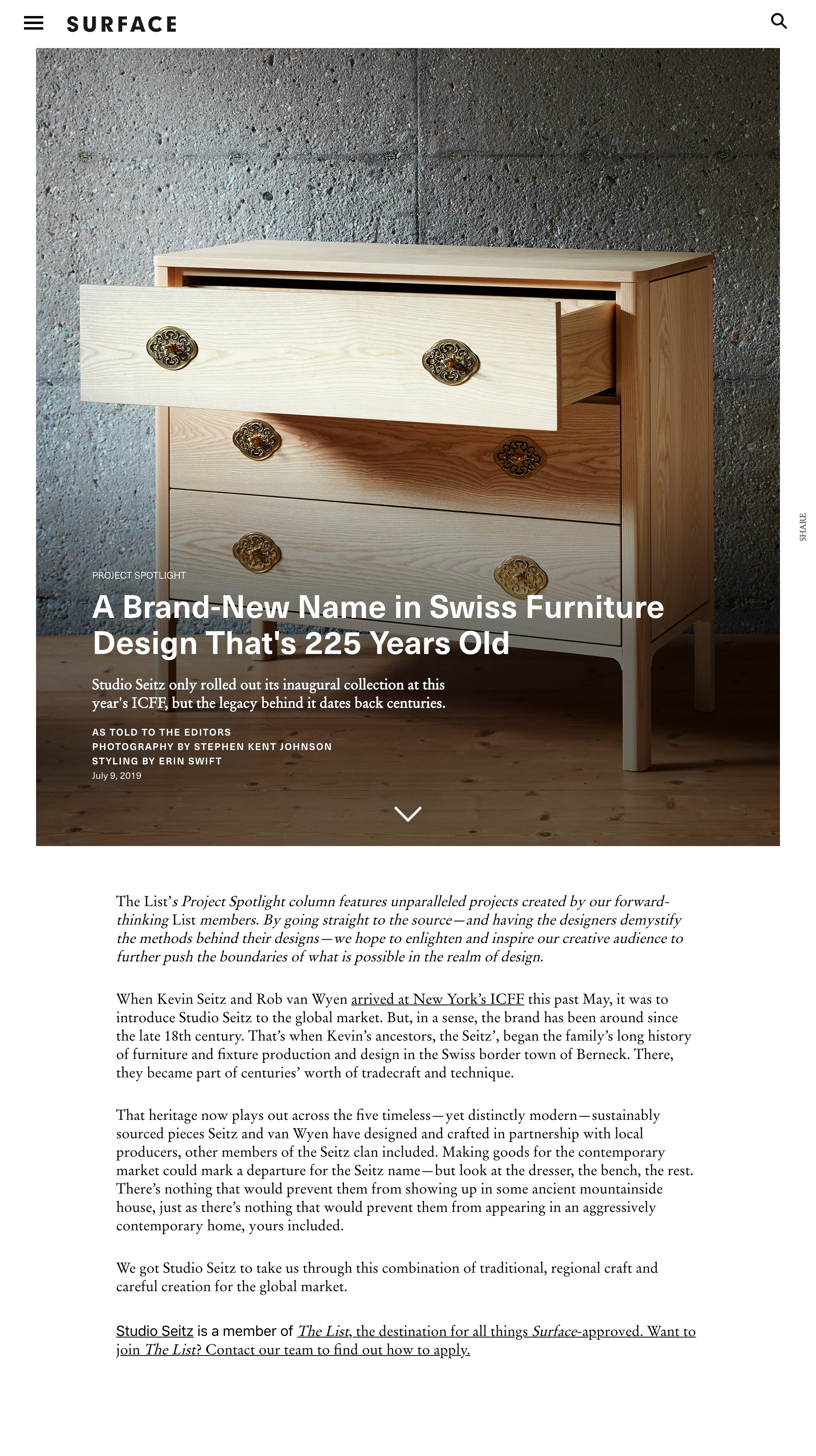 Surface Magazine: A Brand-New Name in Swiss Furniture Design That's 225 Years Old