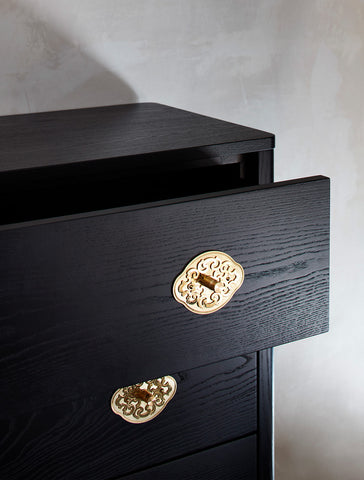 Ebonized Kommode—Black Alpine Dresser