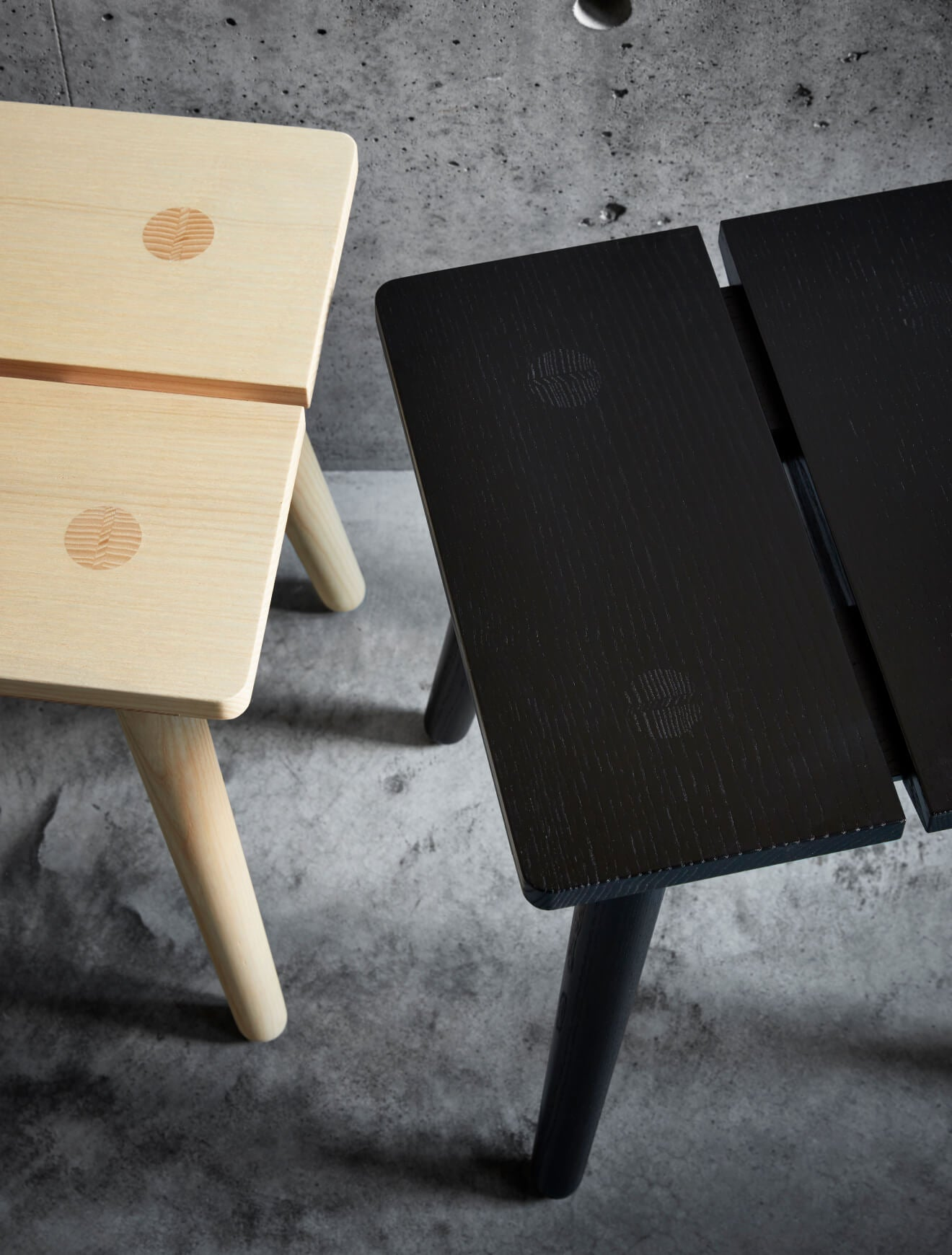 Natural and Ebonized Stabellenstuhl—Swiss Stable Stool