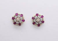 Ruby Colour Flower Style Stud Black Plated Earring