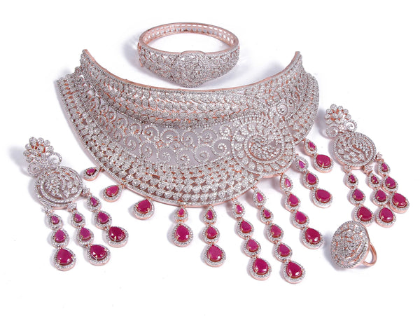 Combo Ruby Color Necklace Set Pack of Ring Bracelet And Pair of Earring