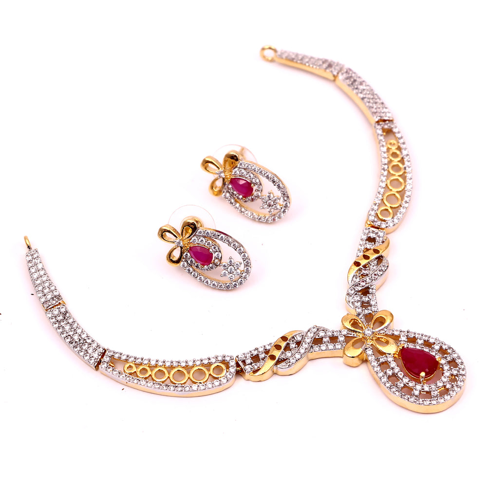 All Occasion Gold Plated Ruby Color Stone Round Necklace