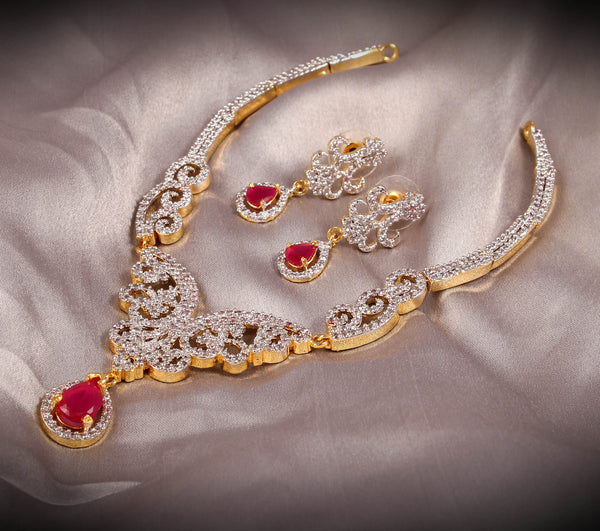 Light Weight Gold Plated Ruby Color Stone Short Necklace