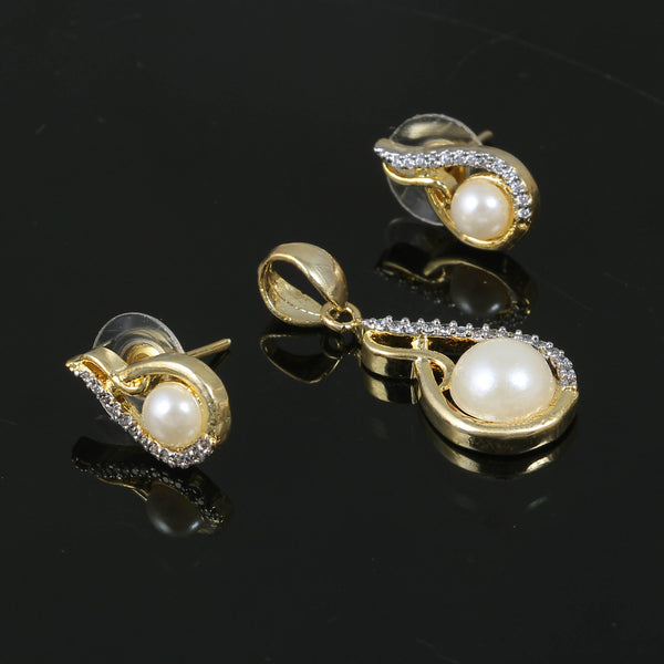 S Style Designer Locket Pendant Gold Plated White Color Pendant