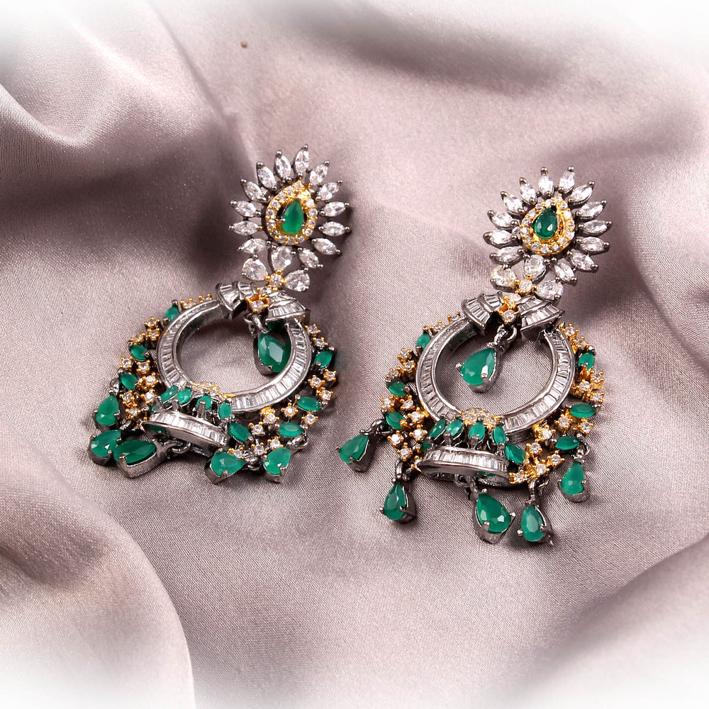 Traditional Style Mini Shape Round Green Color Earring