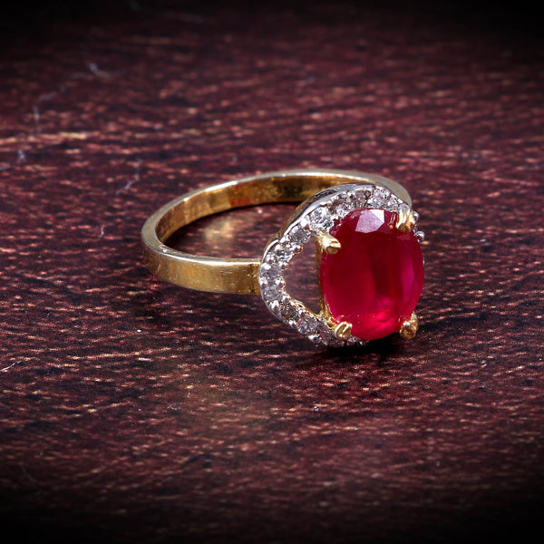 Ruby Color Gold Plated Free Size Best Wedding Ring For Women