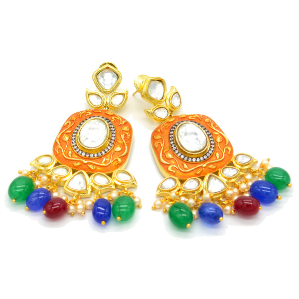 Kundan Polki Matt Polish Multi Color Beads Fine Earring