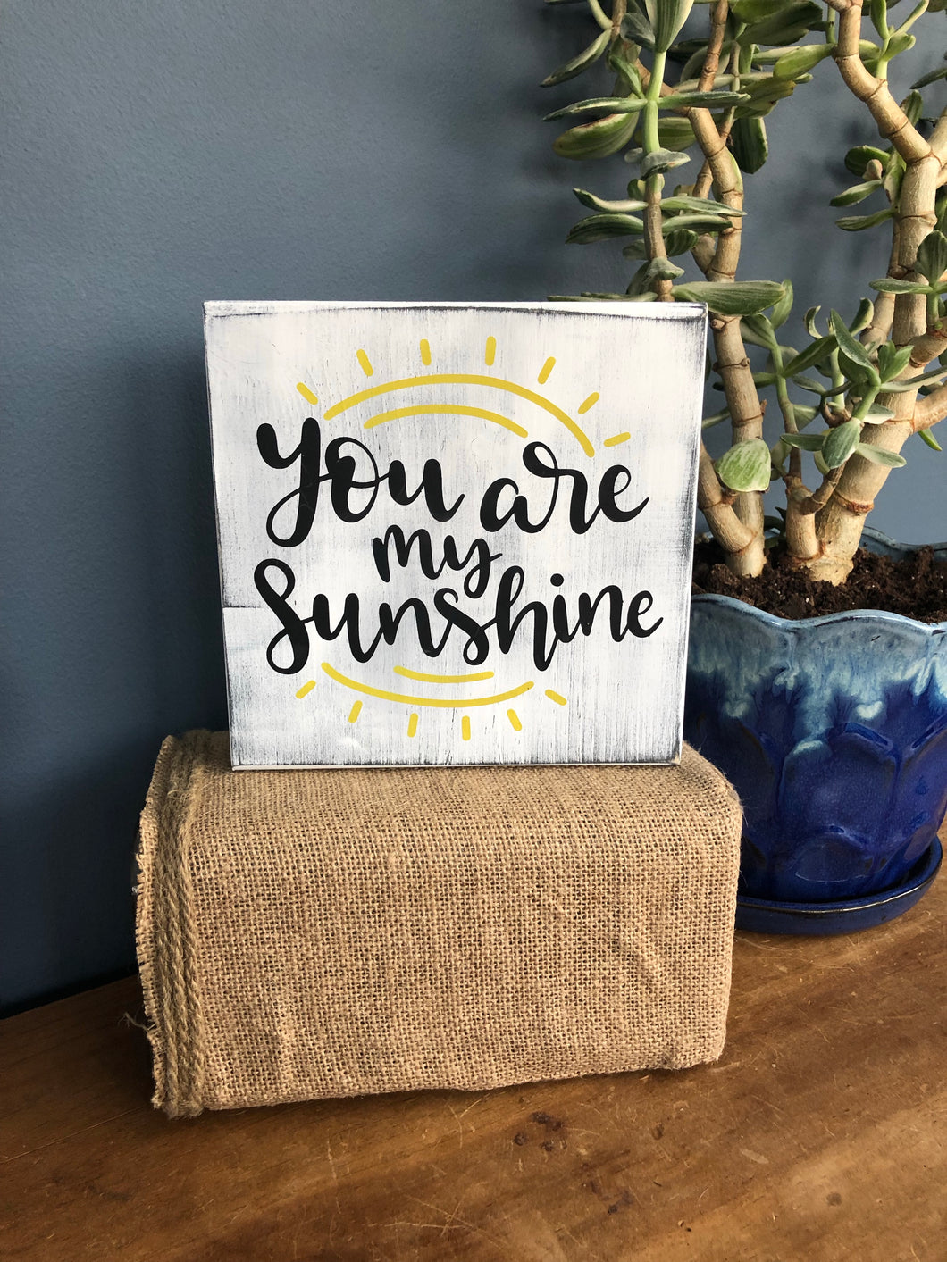 Handcrafted square wood sign -sunshine