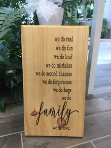 Handcrafted wood Family sign