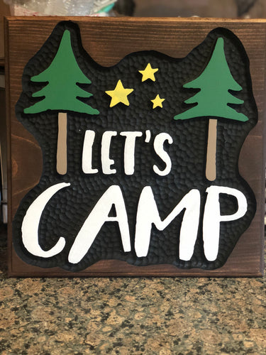 Hand carved wood camping sign