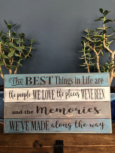 Handcrafted faux boards wood sign
