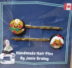 Handmade Gingerbread Hair Pins-Accessory-ellënoire body, bath fragrance & curly hair