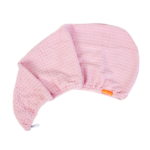 Clearance!! Aquis Rapid Dry Waffle Hair Turban - BLUSH-Towel-ellënoire body, bath fragrance & curly hair